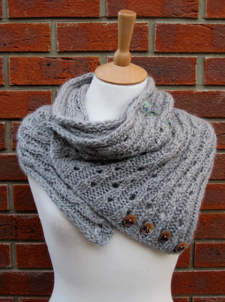 Rib Lace Scarf Cowl Knitting pattern by Fiona Morris
