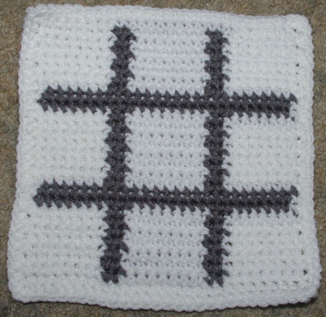 Row Count Tic Tac Toe Board Afghan Square Crochet Pattern