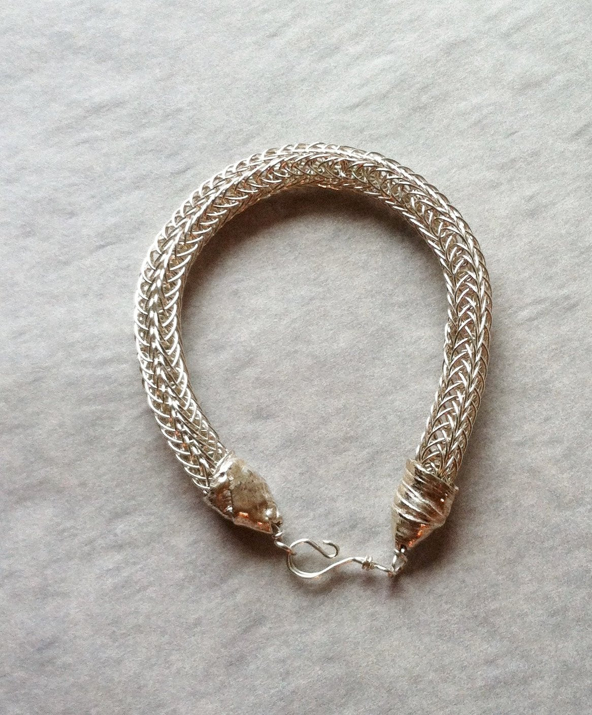 Silver Viking Knit Bracelet Viking Jewelry Elegant by Meliciap