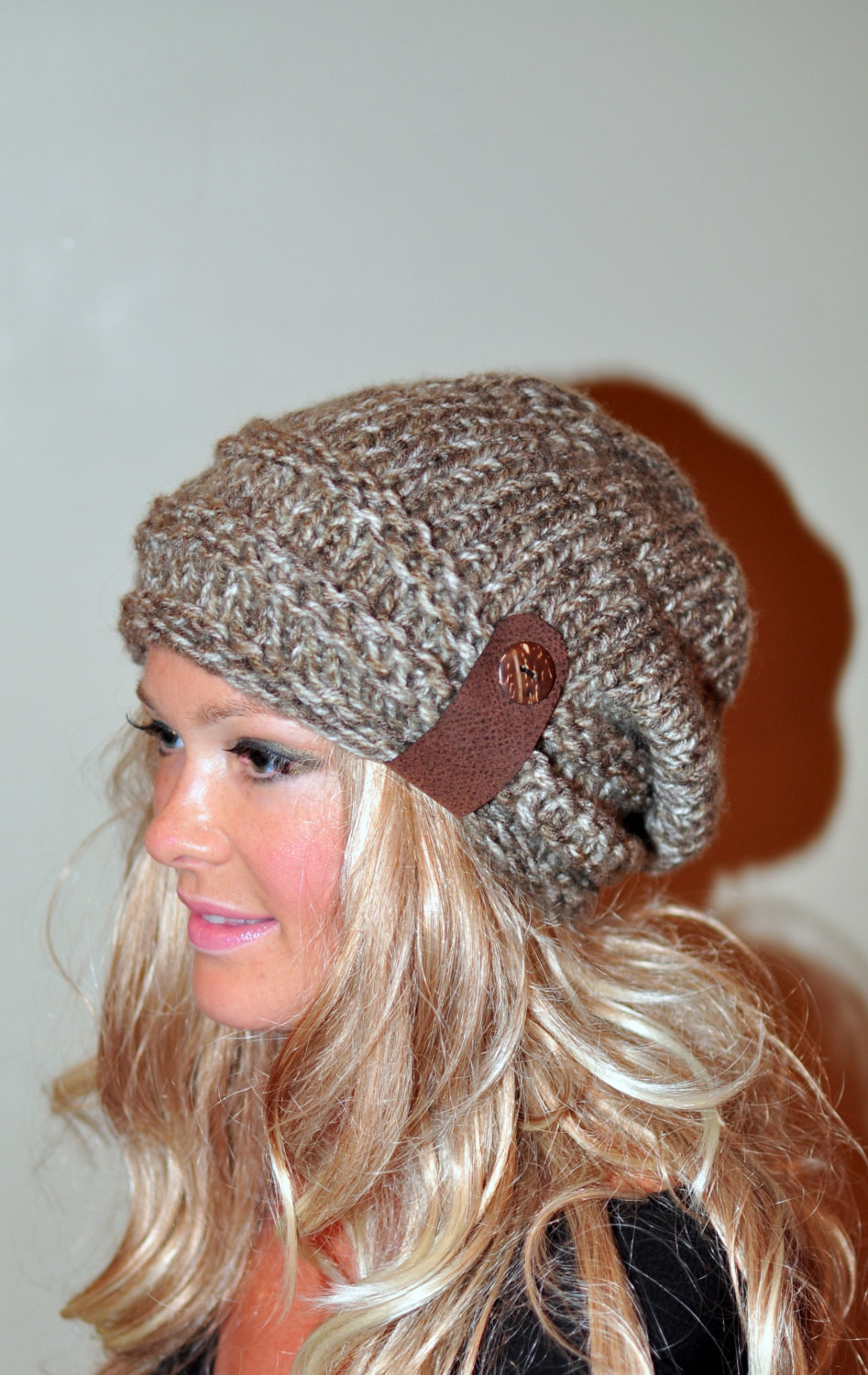 slouchy beanie slouchy hat button knit