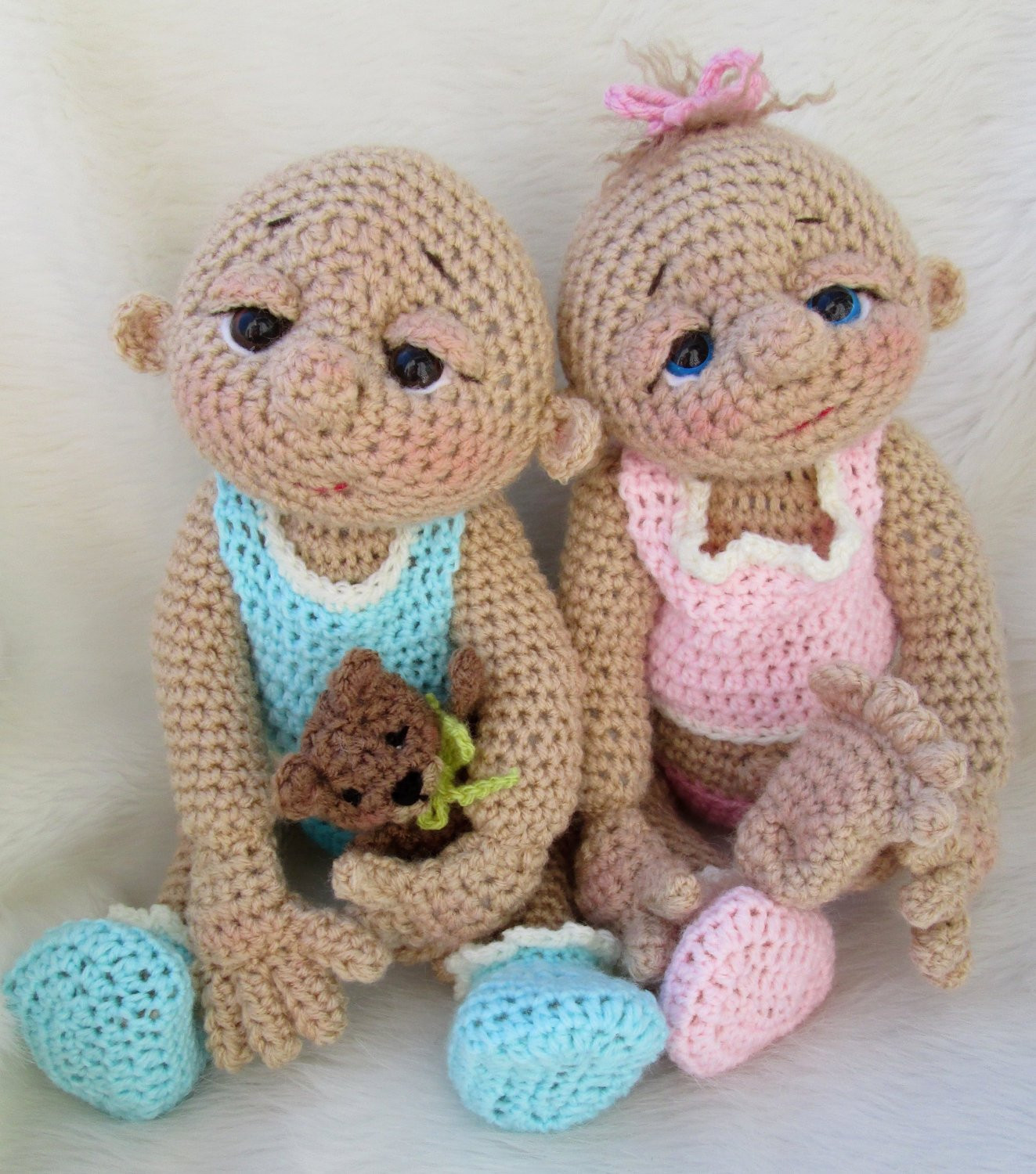 So Cute Baby Doll Crochet Pattern with Teddy Bear Hat Toy and