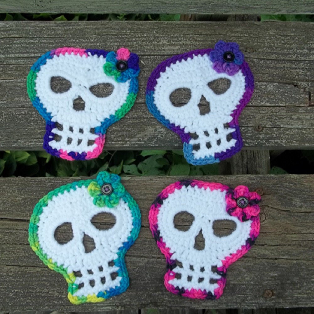 Luxury Sugar Skull Coasters Crocheted Skull Coasters Set Of 4 Crochet Sugar Skull Of Incredible 47 Pictures Crochet Sugar Skull