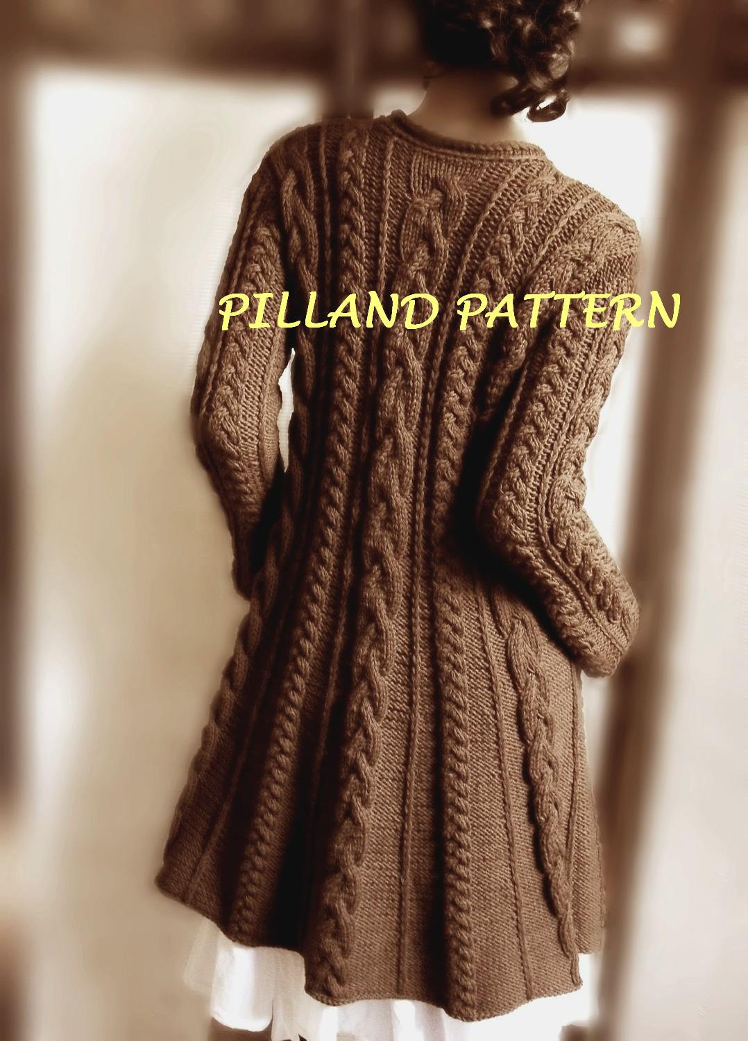 "Luxury Sweater Coat Knitting Pattern Pdf Cable Knit A Line Coat Cable Knit Sweater Pattern Of New Lace & Cable Sweater Dk Wool 30"" 40"" Knitting Cable Knit Sweater Pattern"
