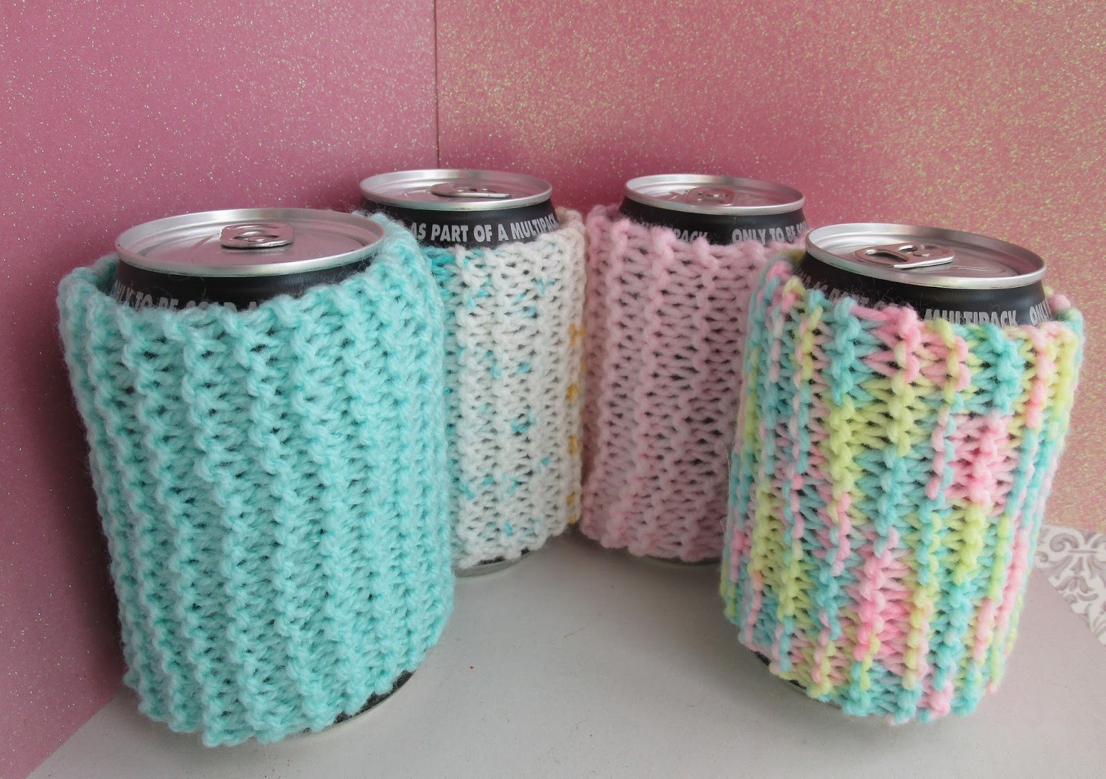 Taffy Lass Knits Rainbow Drink Can Cozy