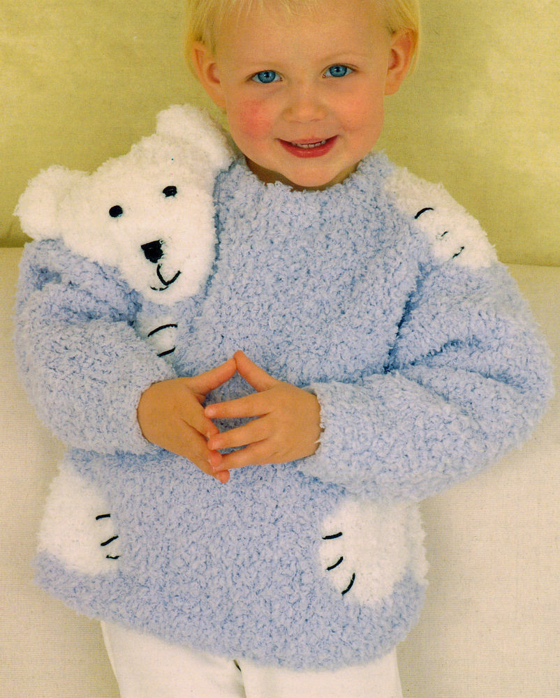 "Luxury Teddy Polar Bear ""hug"" Baby Childrens Sweater 24"" 30 Knitting Patterns for Childrens Sweaters Of Charming 47 Models Knitting Patterns for Childrens Sweaters"