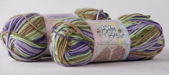 Two Skeins of Baby Bee Hushabye Yarn in Color 128 by njneedles