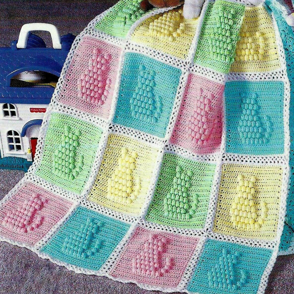 Vintage Crochet Pattern Kitty Cat Afghan from