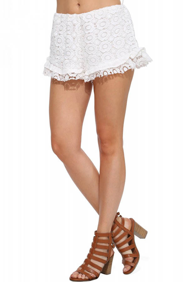 White Crochet Lace Elastic Waist Shorts Womens