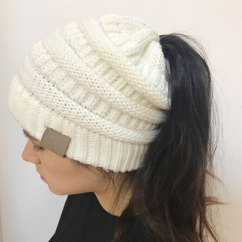 Luxury Women Girls Stretch Knit Hat Messy High Bun Ponytail Ponytail Knit Hat Of Top 46 Pictures Ponytail Knit Hat