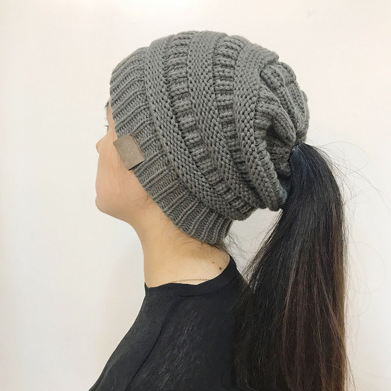 Luxury Women Stretch Knitted Beanie Hat Messy High Bun Ponytail Beanie with Hole for Bun Of Great 40 Pics Beanie with Hole for Bun