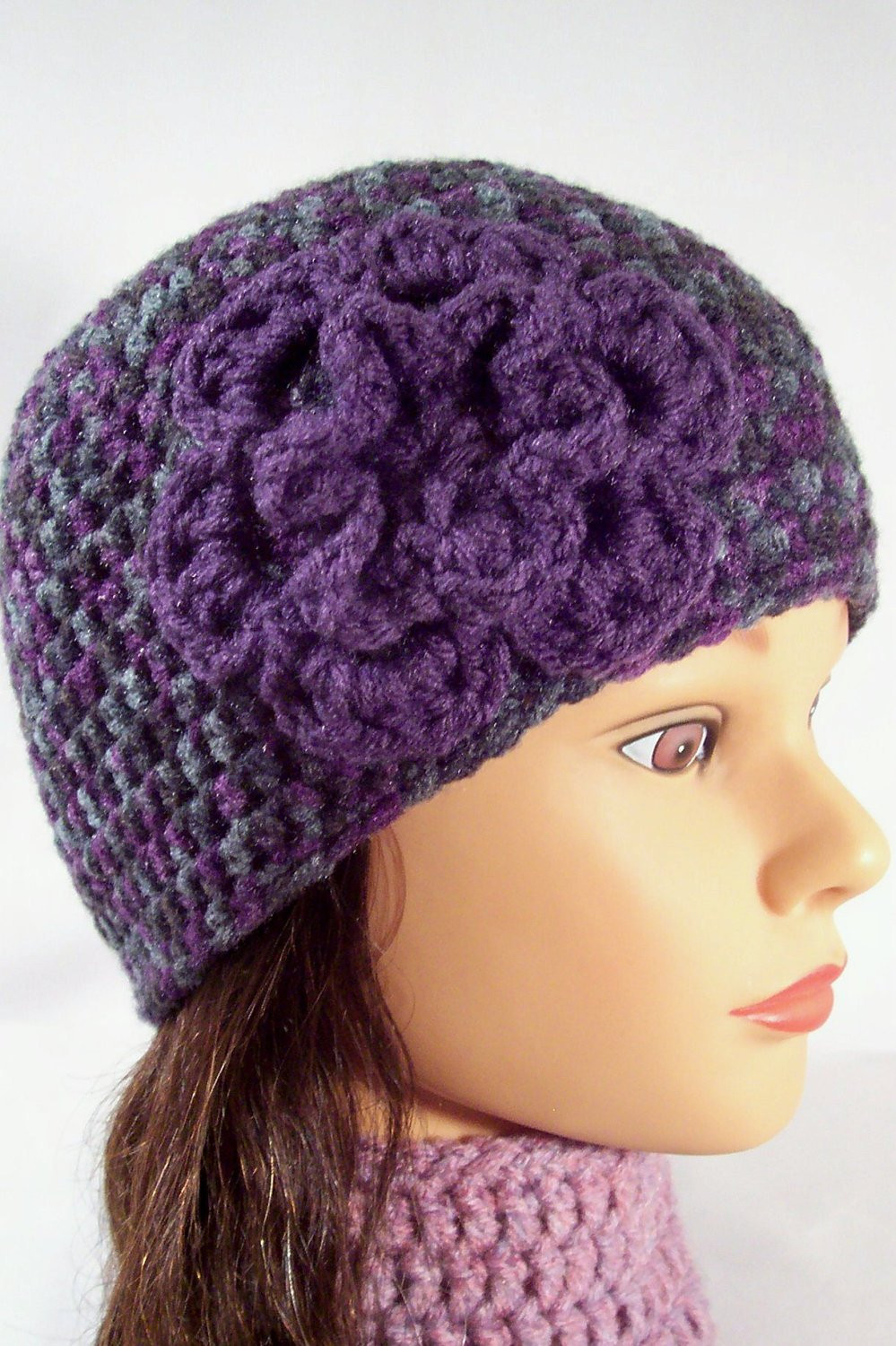 Luxury Womens Crocheted Hat Girls Crochet Flowered Hat by Crochethq Womens Crochet Beanie Of Perfect 44 Photos Womens Crochet Beanie