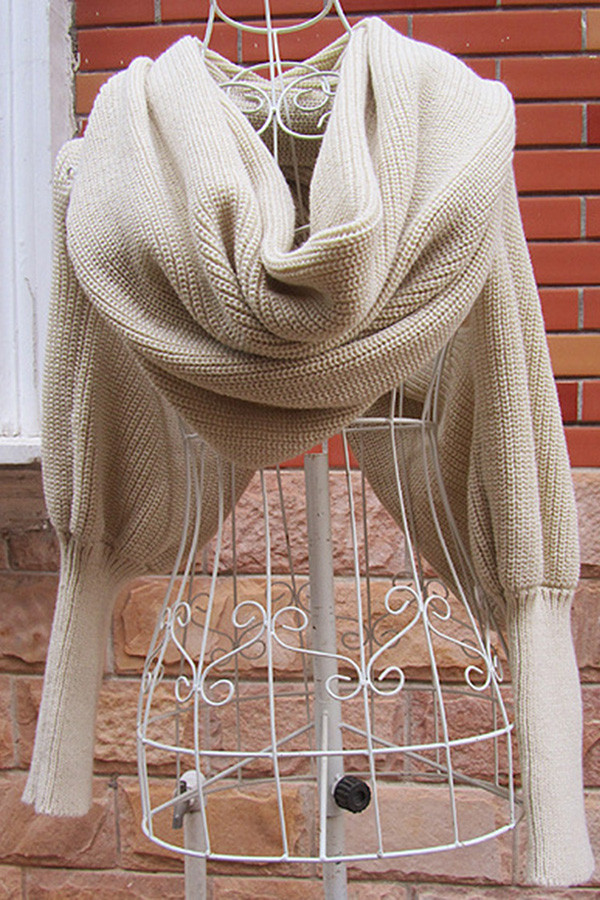 Luxury Womens Stylish Plain Crochet Knit Shawl Scarf with Sleeves Scarf with Sleeves Of Lovely 40 Models Scarf with Sleeves