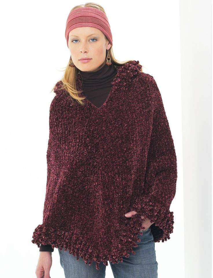 Yarnspirations Patons Hooded Poncho Patterns
