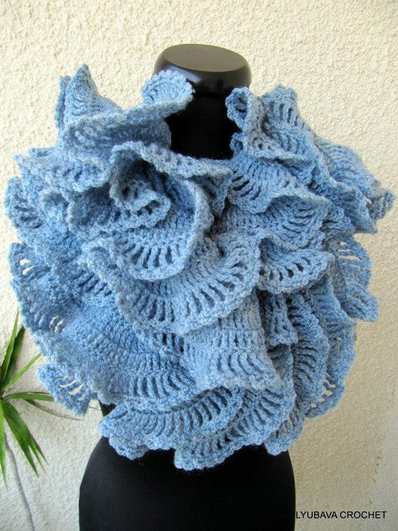 Luxury You Have to See Double Ruffle Crochet Scarf Blue Gray On Crochet Ruffle Scarf Of Inspirational Firehawke Hooks and Needles Free Pattern Ruffle Scarf Crochet Ruffle Scarf