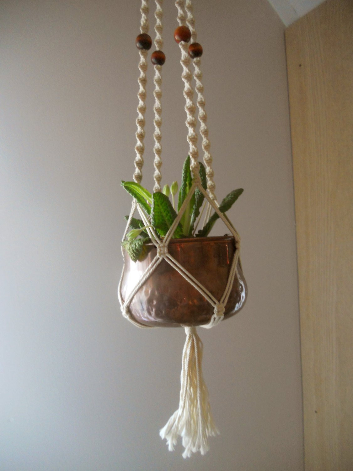 Vintage macrame plant hanger White Macrame flower pot holder