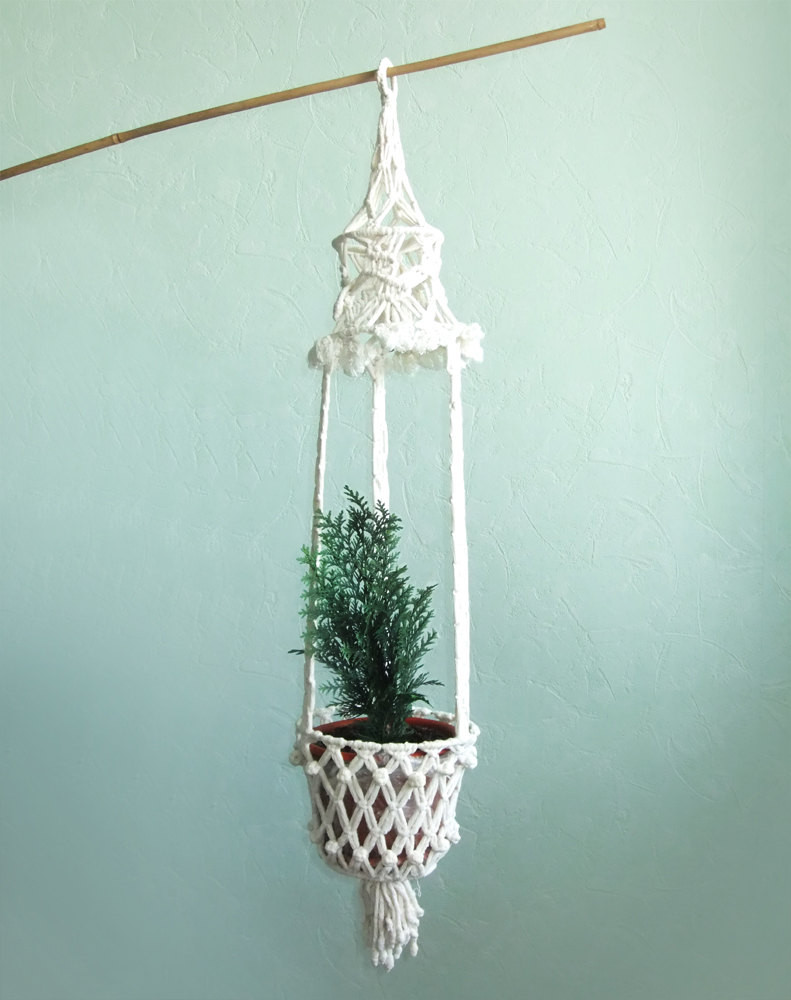 Vintage Macrame White Plant Hanger Macrame Pot Holder Long