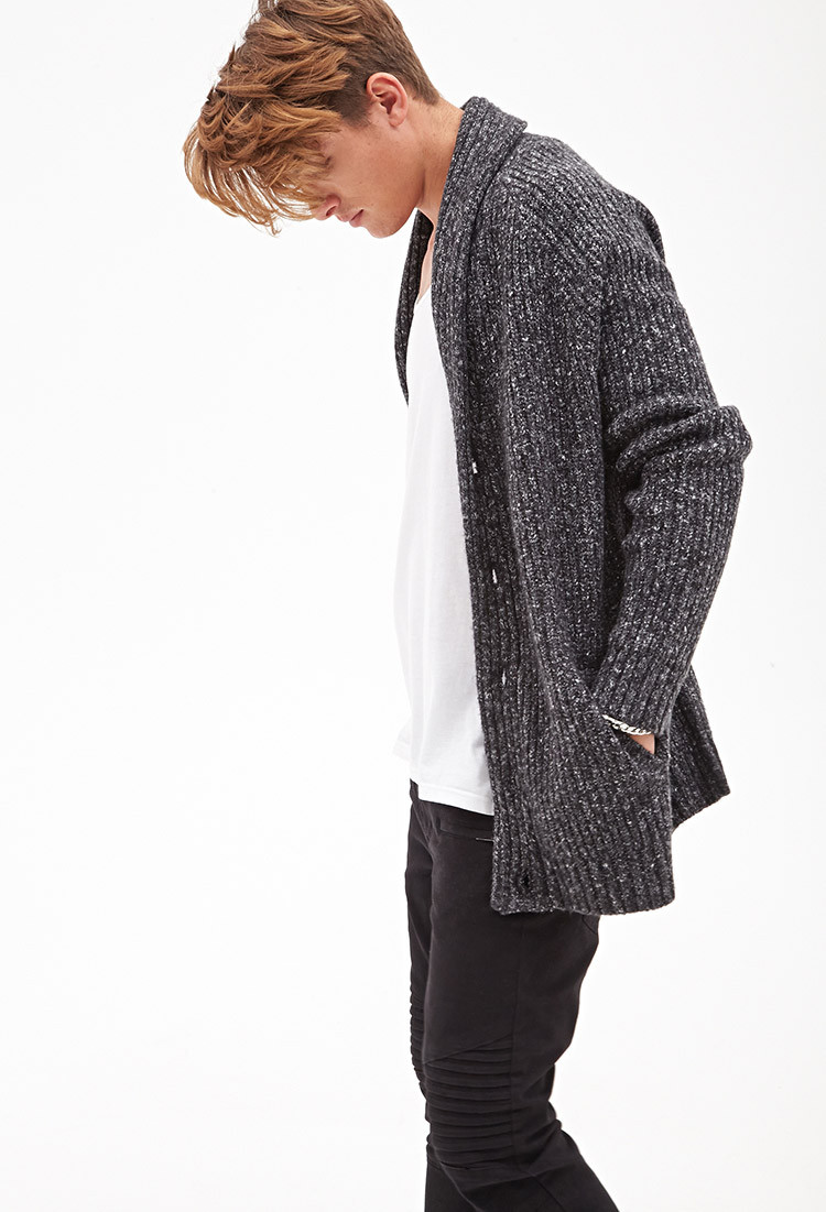 Forever 21 Cable Knit Cardigan in Gray for Men