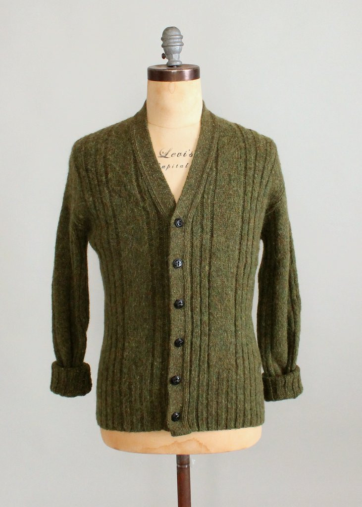 Vintage 1960s Mens Green Cable Knit Cardigan