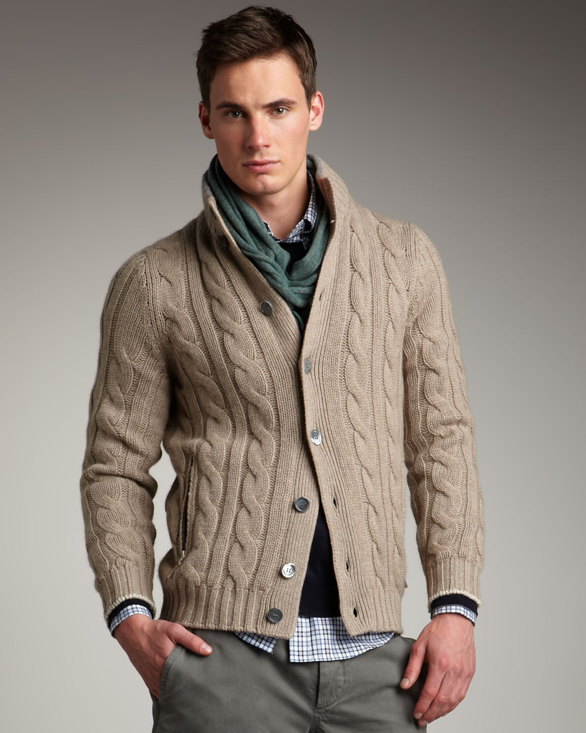 Lyst Brunello Cucinelli Cable knit Cardigan in Gray for Men