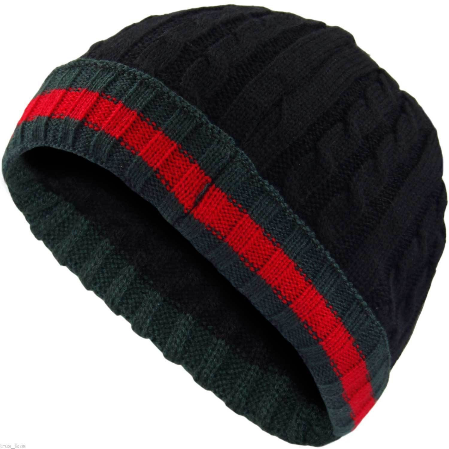 Mens Woolly Winter Beanie Uni Knitted Cap Hat