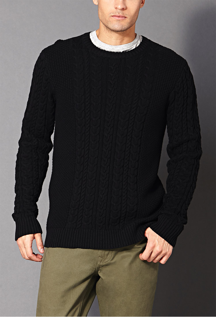 Mens Knit Sweater Awesome forever 21 Chunky Cable Knit Sweater In Black for Men Of Perfect 42 Pictures Mens Knit Sweater