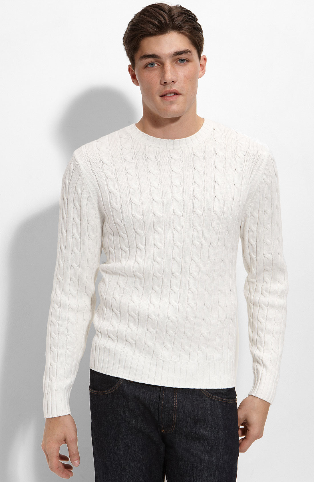 Mens Knit Sweater Luxury 1901 athletic Fit Cable Knit Cotton & Cashmere Sweater In Of Perfect 42 Pictures Mens Knit Sweater