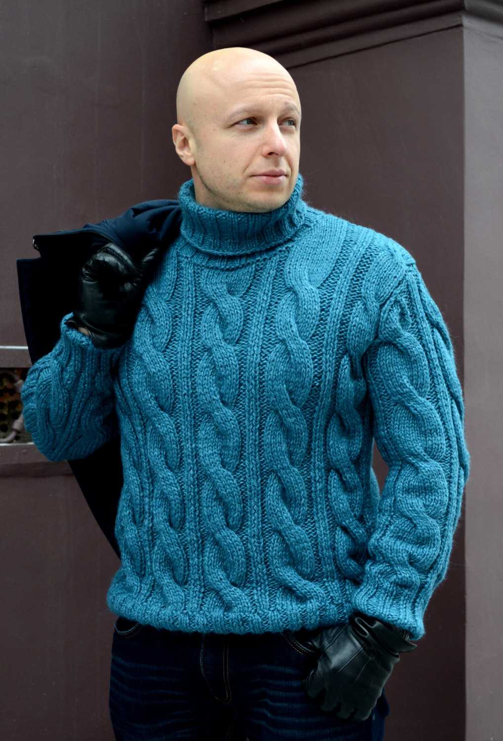 The gallery for Mens Cable Knit Fisherman Sweater