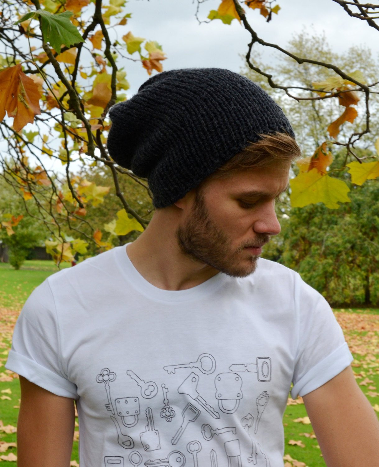 Anthracite Men s Slouchy Beanie Hand Knit Hat for Men