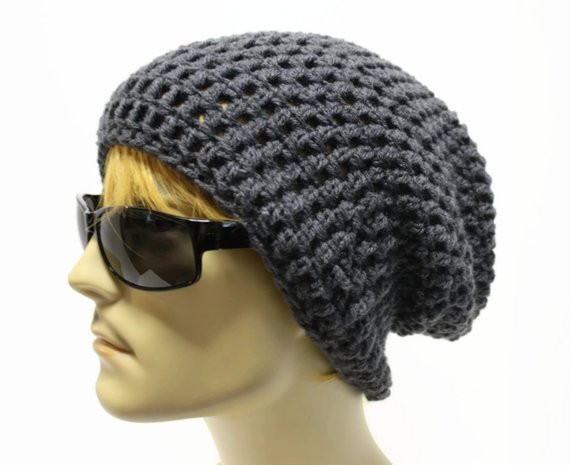 Gray Mens Slouchy Beanie Crochet Slouch Beanie Hipster Hat