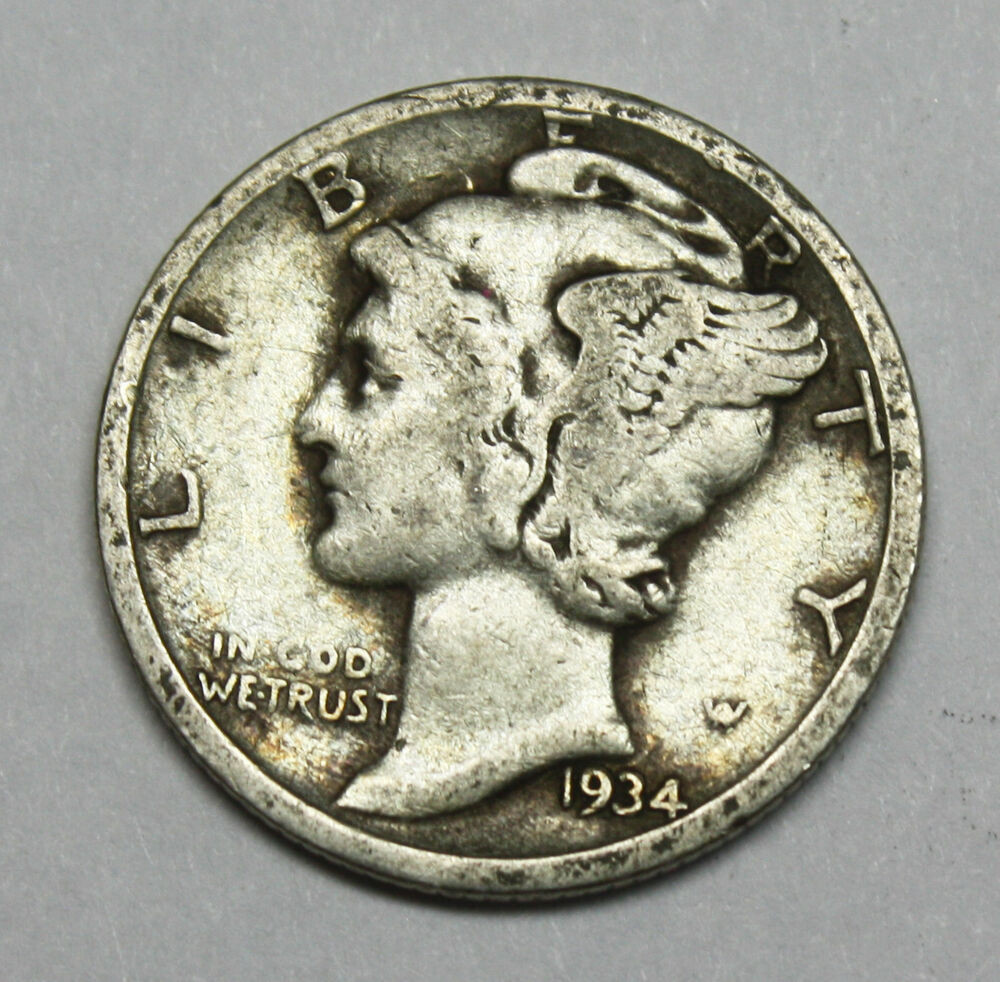 1934 d Mercury Head Dime Error Double Date Part of