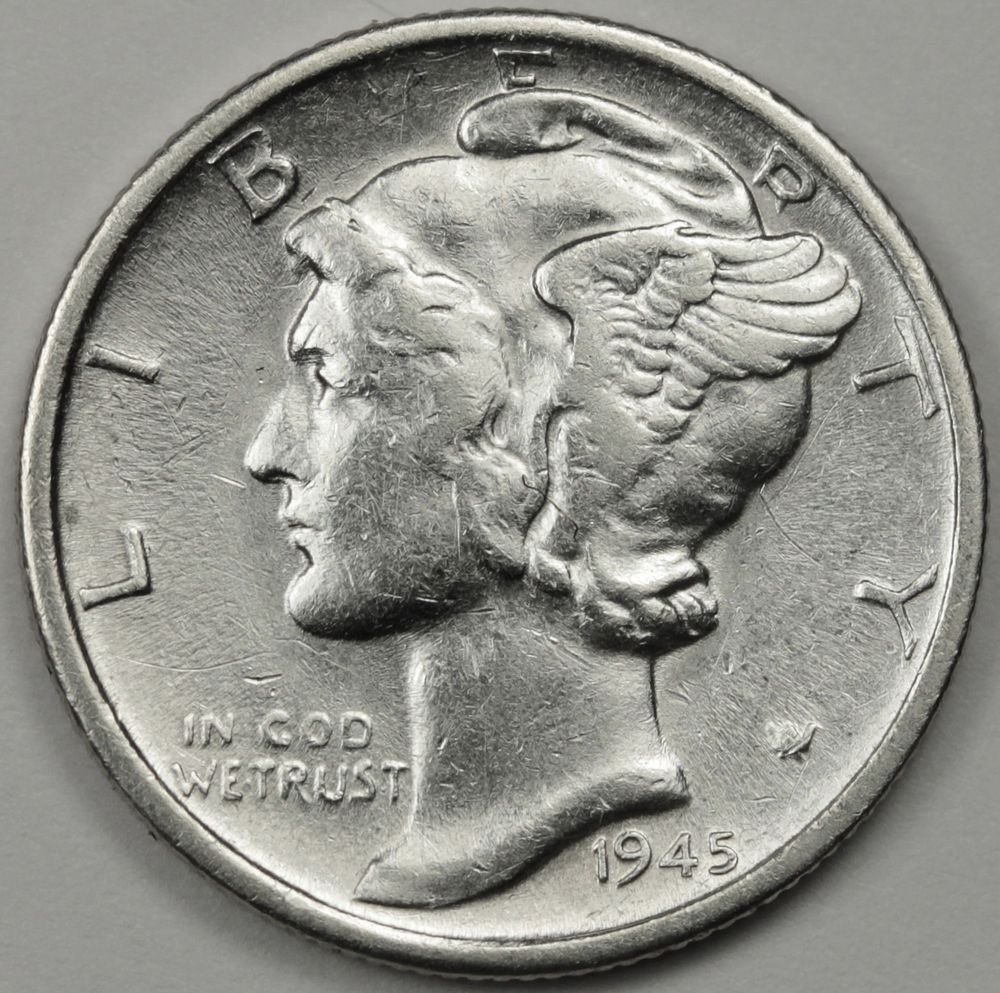 "Mercury Head Dime Awesome 1945 S Mercury Head Dime Micro ""s"" Mint Mark High Grade Of Wonderful 34 Pics Mercury Head Dime"