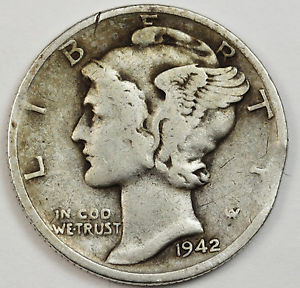 1942 Mercury Head Dime Error Clipped Planchet