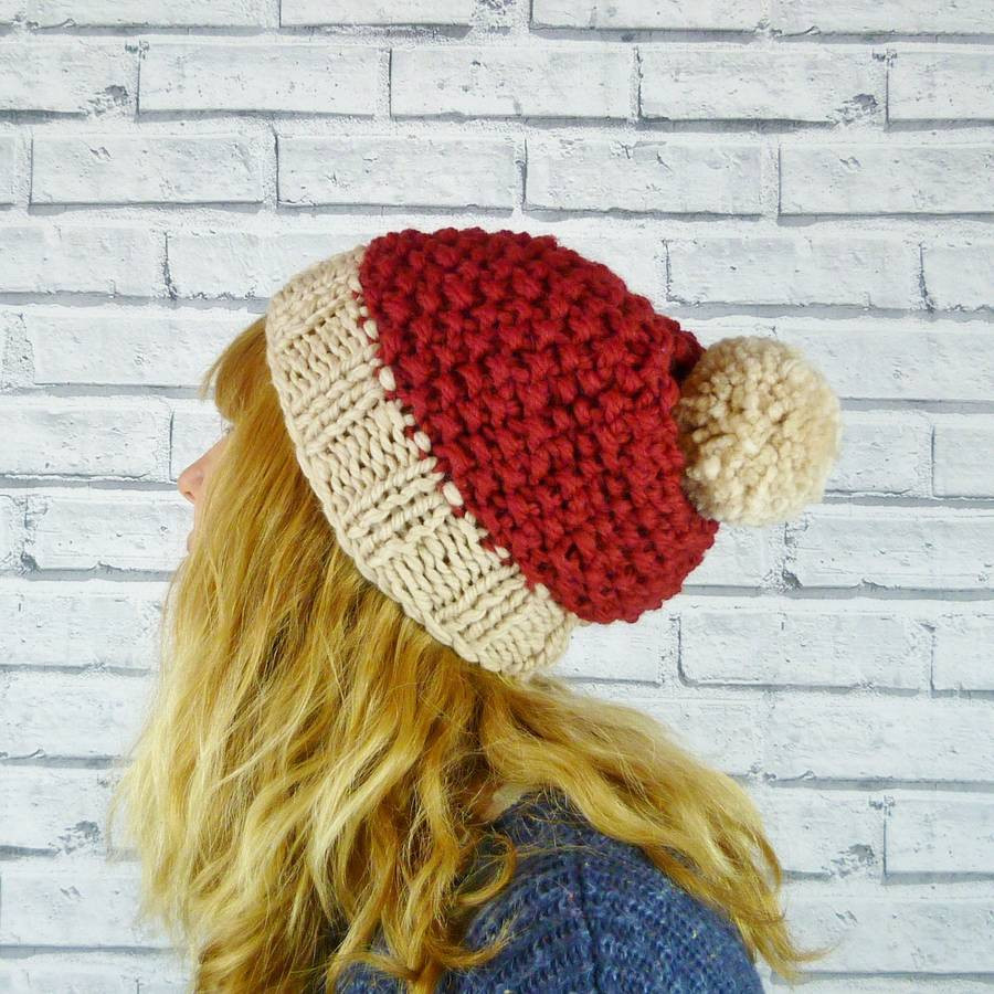 merino wool chunky knit bobble hat by moaning minnie