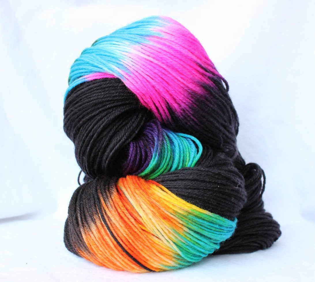 Merino Yarn Elegant Hand Dyed Yarn Black and Brights Variegated Yarn Of Unique 41 Photos Merino Yarn