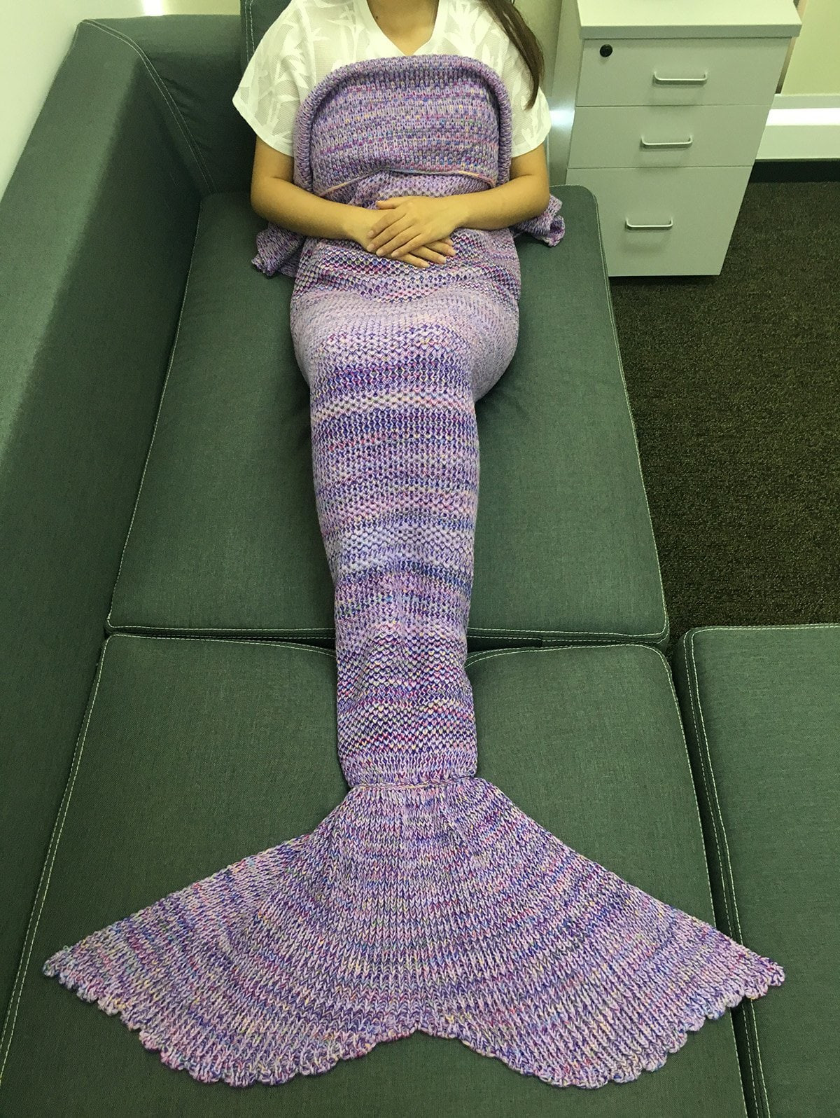 Mermaid Blanket Pattern Awesome Chic Quality Multicolor Stripe Pattern Knitting Mermaid Of Adorable 42 Pics Mermaid Blanket Pattern