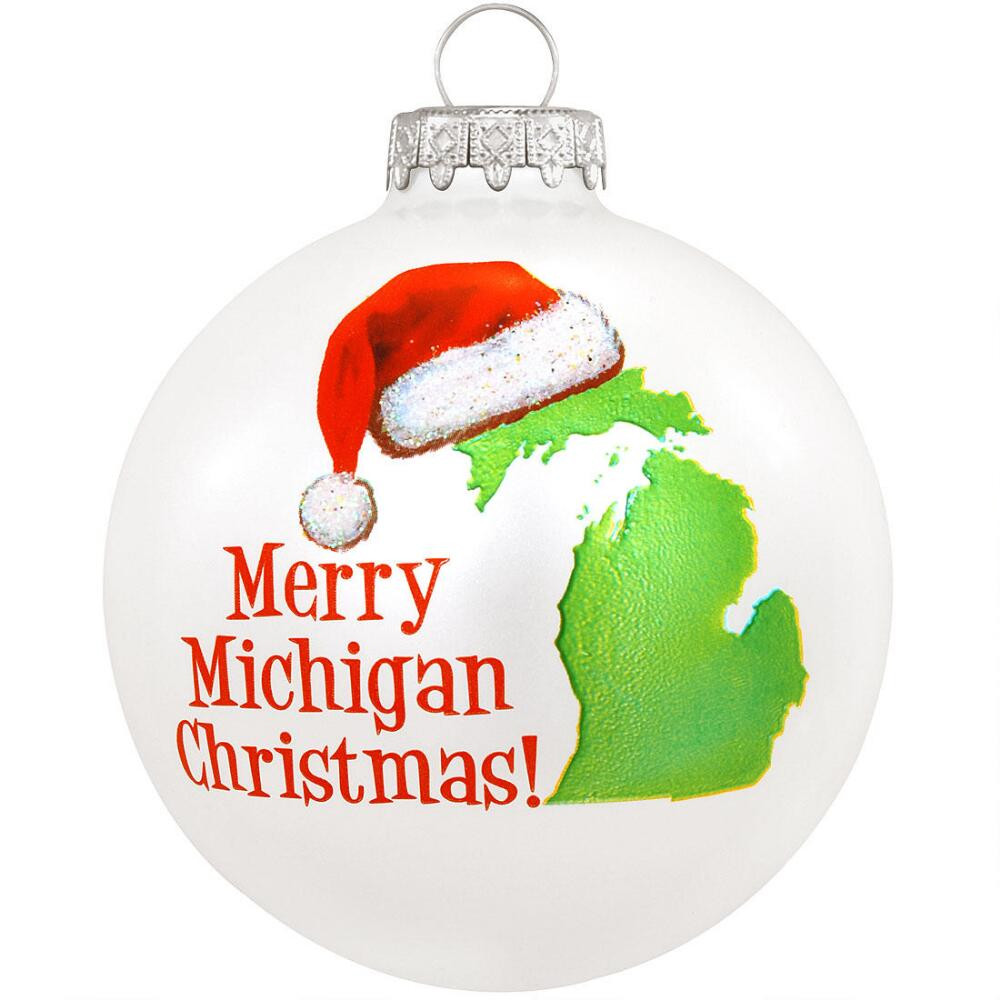 Merry Michigan Christmas Glass Ornament