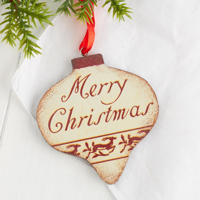 "Rustic ""Merry Christmas"" Ornament Christmas Ornaments"