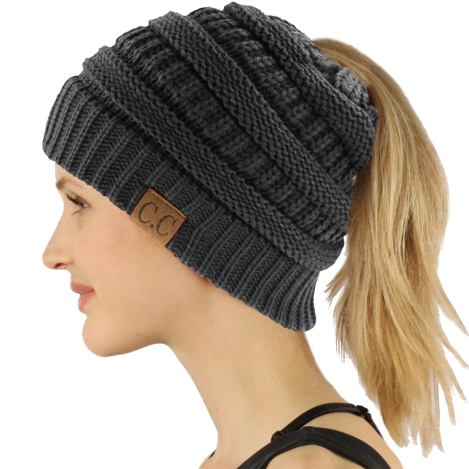 CC Beanietail Messy High Bun Ponytail Stretchy Knit Beanie