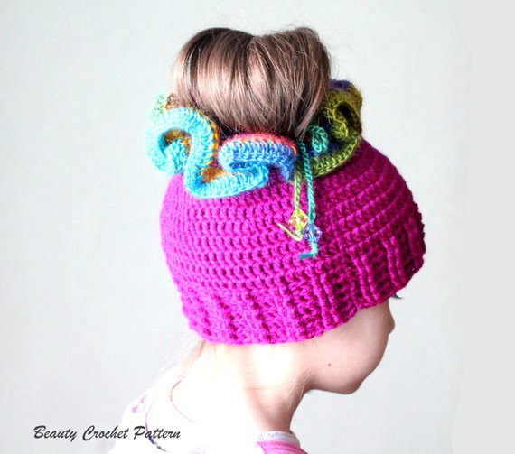 Messy Bun Crochet Hat Pattern Crochet Ponytail Hat Pattern