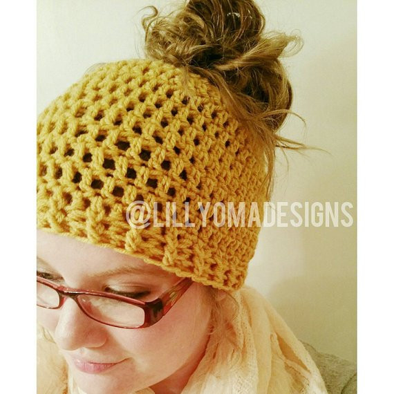 Messy Bun Hat Crochet Pattern Inspirational Items Similar to Messy Bun Beanie Ponytail Hat Crochet Of Amazing 47 Images Messy Bun Hat Crochet Pattern