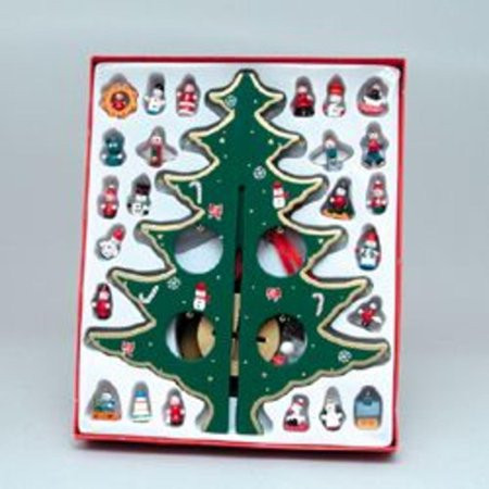 """12 25"""" Wooden Christmas Tree With Miniature Ornaments"""
