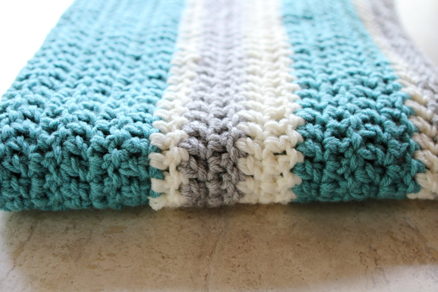 Modern Crochet Patterns New Chunky Striped Modern Crochet Baby Blanket Cream Aqua Of Adorable 44 Pictures Modern Crochet Patterns