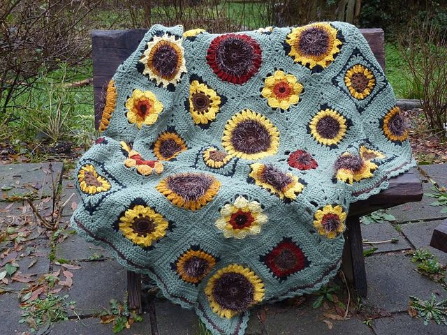 New 17 Best Images About Crochet Sunflowers On Pinterest Sunflower Crochet Blanket Of Elegant Hand Crocheted Sunflower Granny Square Blanket Afghan Throw Sunflower Crochet Blanket