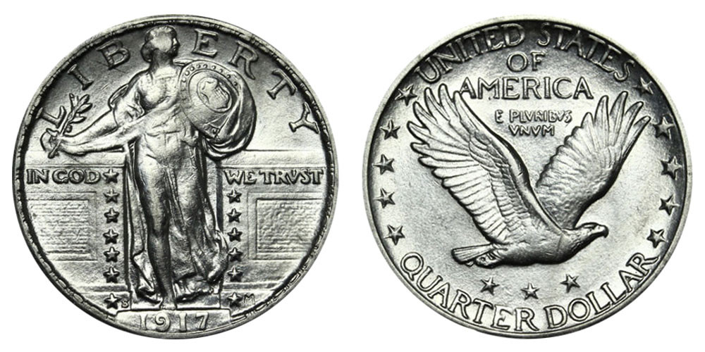1917 S Standing Liberty Quarters Type 2 Value and Prices