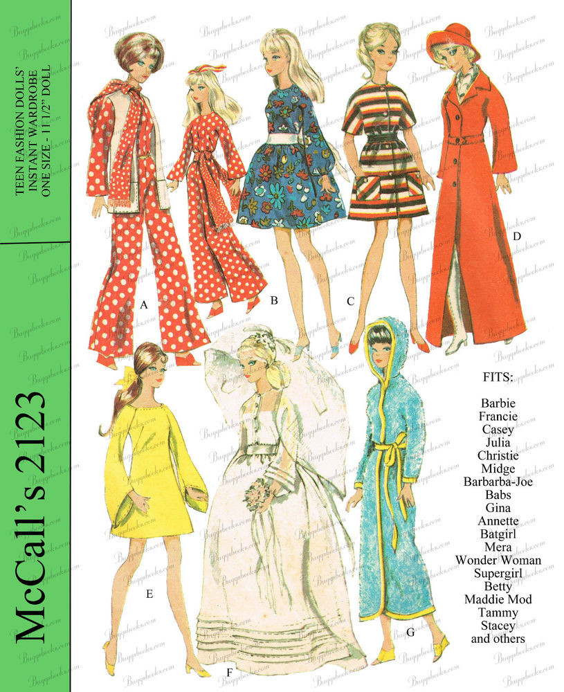 1960 s Barbie Doll Clothes Sewing Pattern McCalls
