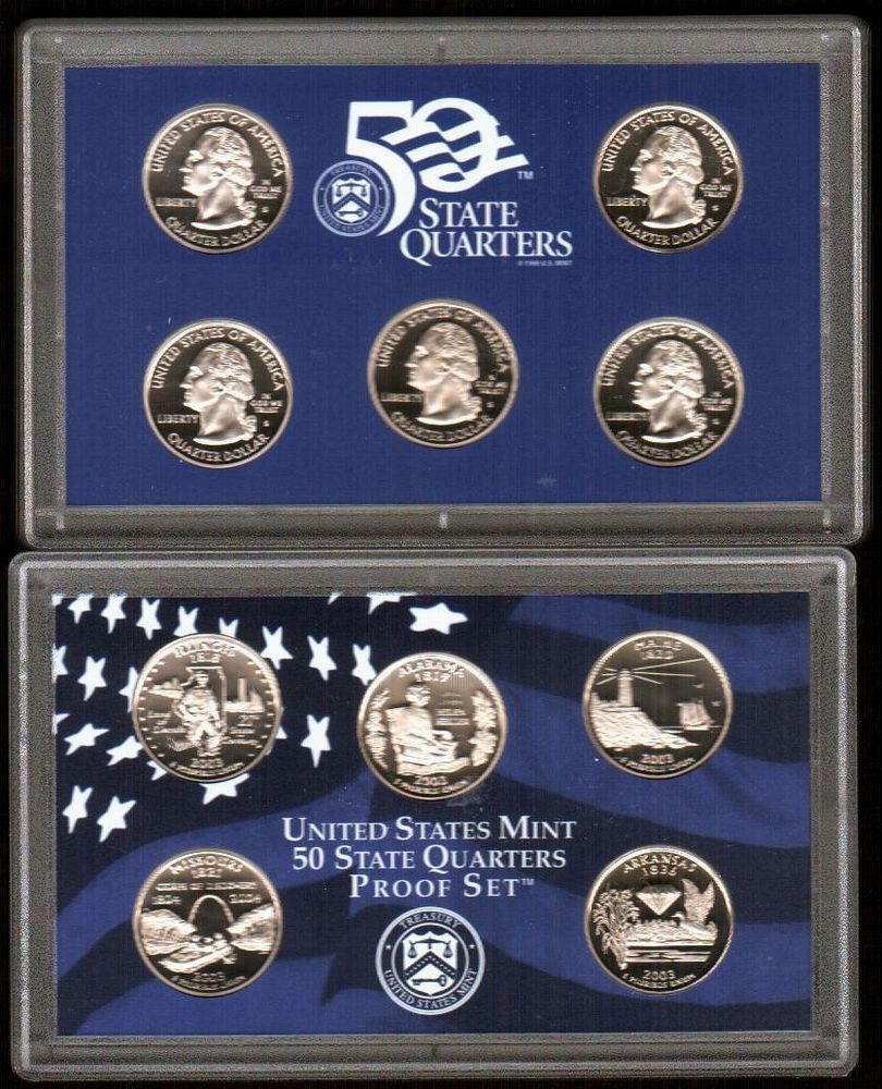 """New 2003 """"50 State Quarters"""" 5 Clad Coin Proof Set In origianl State Quarter Proof Set Of Top 48 Images State Quarter Proof Set"""