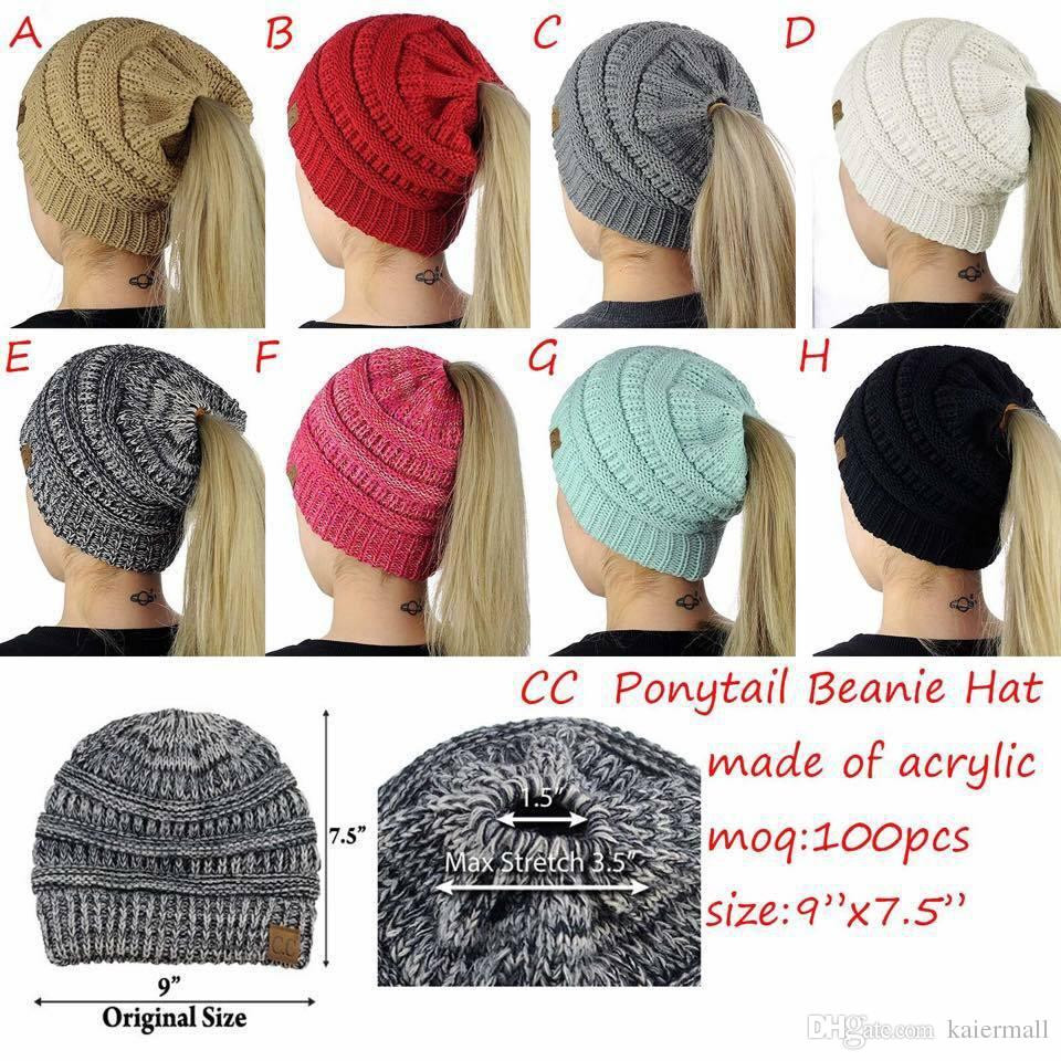 New 2017 Cc Beanies Caps Winter Hats for Women La S Stocking Cap with Ponytail Hole Of Unique 36 Models Stocking Cap with Ponytail Hole