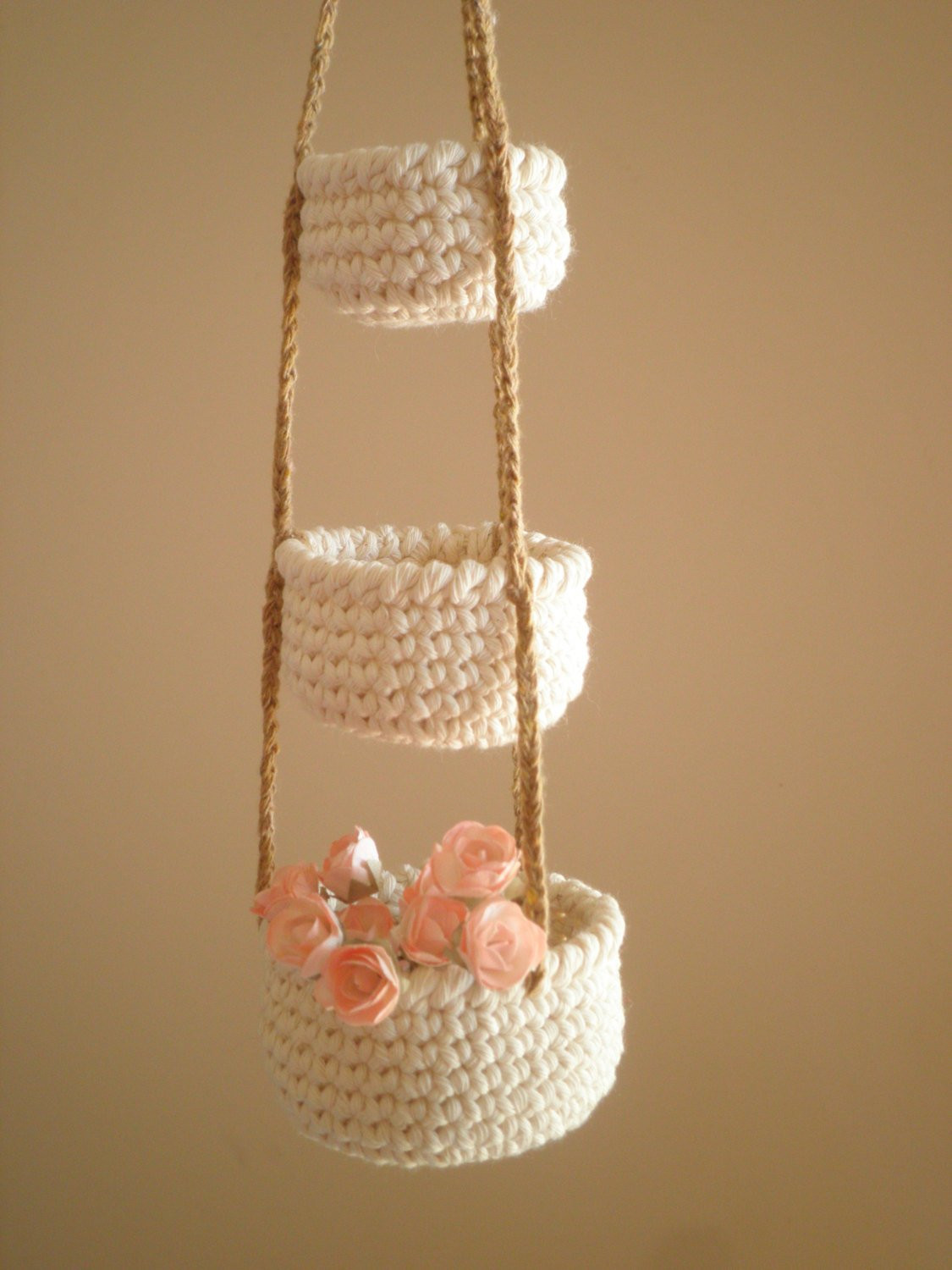 New 3 Tier Little Crochet Baskets Mini Hanging Baskets Country Crochet Hanging Basket Of Awesome 47 Photos Crochet Hanging Basket