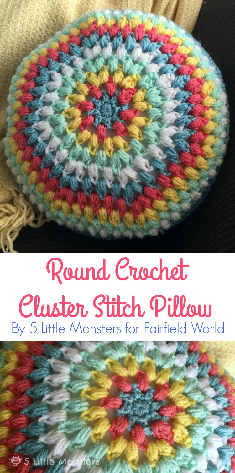 5 Little Monsters Round Crochet Cluster Stitch Pillow
