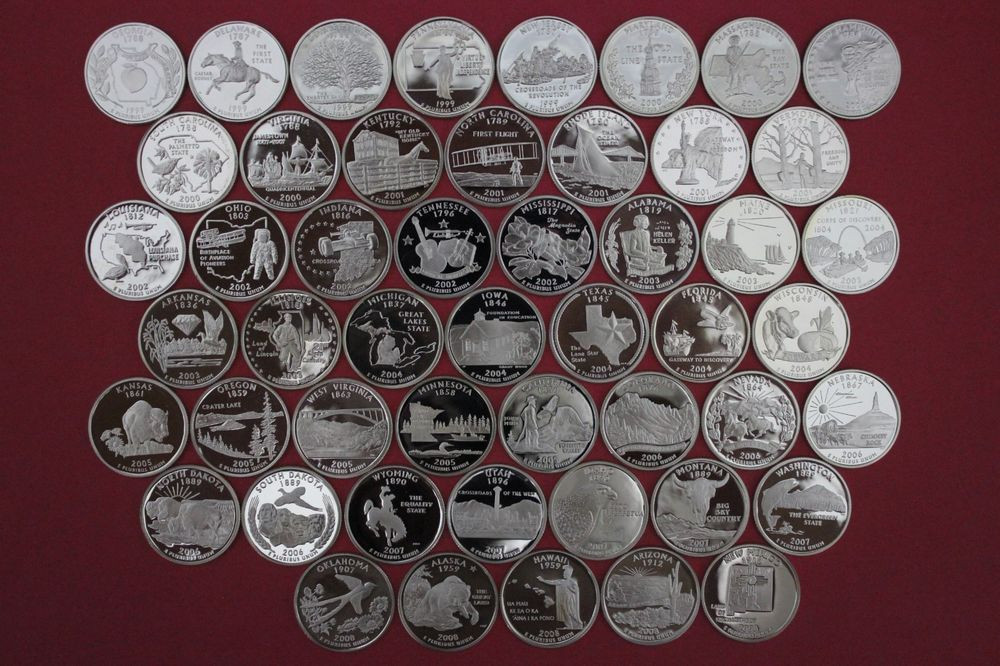 New 50 Clad State Quarters Set 1999 2008 Gem Proof Deep Cameo State Quarter Set Value Of Luxury Mint Statehood Quarter Errors State Quarter Set Value
